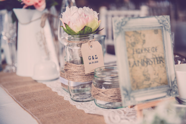 Twine Hessian Burlap Jar Flowers Luggage Tags Alternative Game of Thrones Fete Wedding http://hayleybaxterphotography.com/