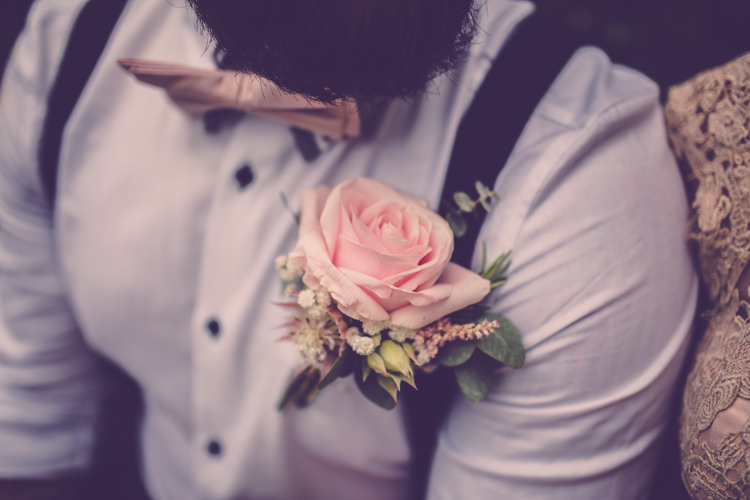 Pink Rose Buttonhole Groom Braces Bow Tie Alternative Game of Thrones Fete Wedding http://hayleybaxterphotography.com/