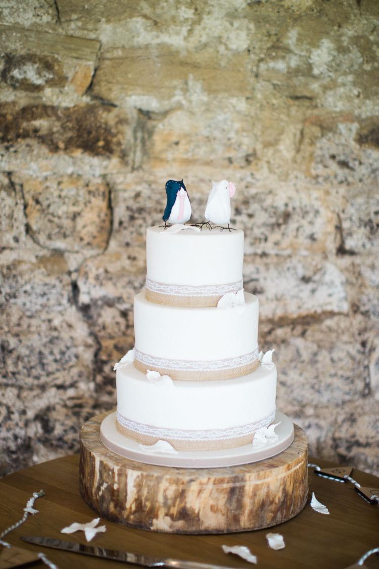 Cake Hessian Burlap Lace Log Beautiful Barn Bird Wedding http://www.melissabeattie.com/