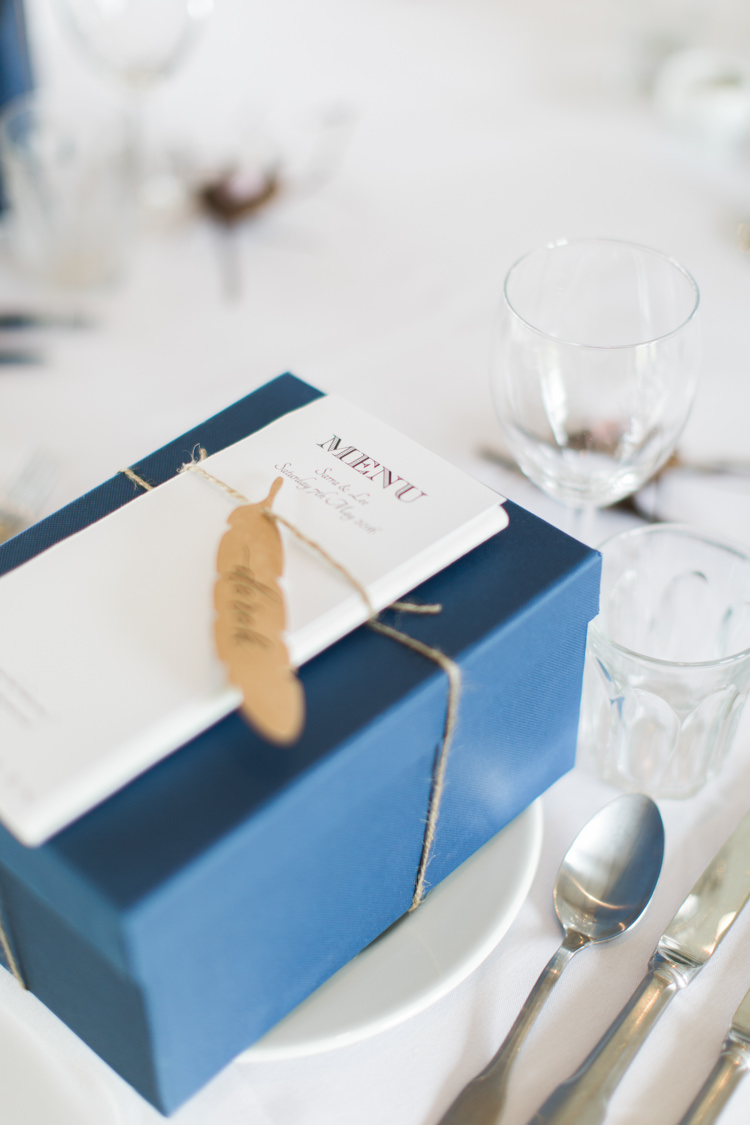 Favour Box Feather Place Name Card Beautiful Barn Bird Wedding http://www.melissabeattie.com/