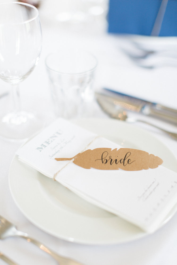 Feather Place Name Cards Setting Beautiful Barn Bird Wedding http://www.melissabeattie.com/