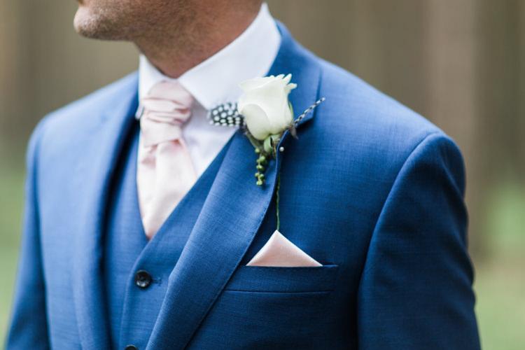Pink Tie Pocket Square Groom Buttonhole Beautiful Barn Bird Wedding http://www.melissabeattie.com/