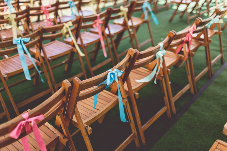 Colourful Ribbon Chairs Decor DIY Tipi Camping Wedding http://www.wearetheclarkes.com/