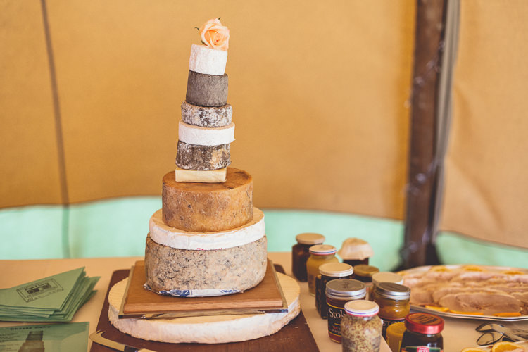 Cheese Tower Stack Cake DIY Tipi Camping Wedding http://www.wearetheclarkes.com/