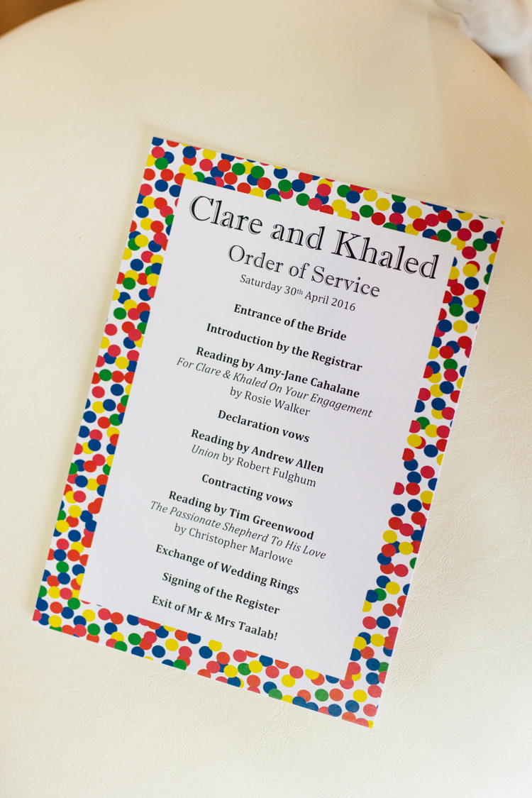 Confetti Order Service Stationery Multicoloured Fun Creative Wedding http://www.catlaneweddings.com/
