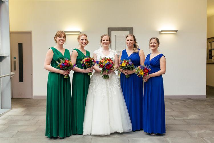 John Lewis Long Bridesmaid Dresses Jersey Emerald Sapphire Green Blue Multicoloured Fun Creative Wedding http://www.catlaneweddings.com/