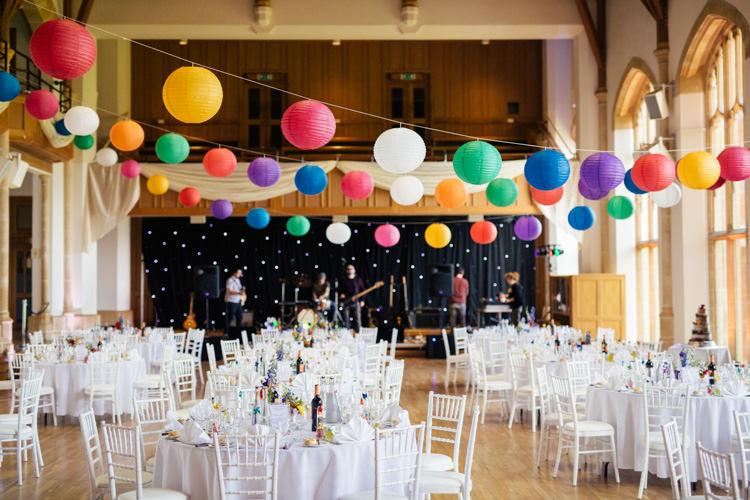 Colourful Rainbow Lanterns Decor Multicoloured Fun Creative Wedding http://www.catlaneweddings.com/