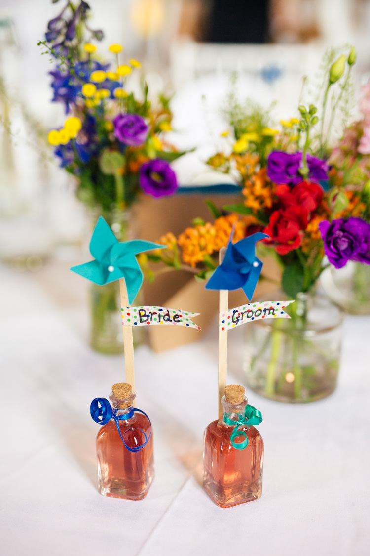 Favours Pin Wheels Bottles Dinks Multicoloured Fun Creative Wedding http://www.catlaneweddings.com/