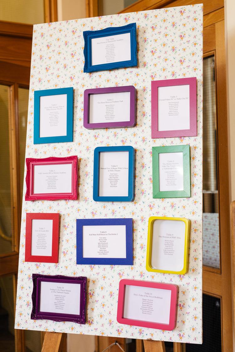 Floral Frames Seating Table Plan Chart Multicoloured Fun Creative Wedding http://www.catlaneweddings.com/