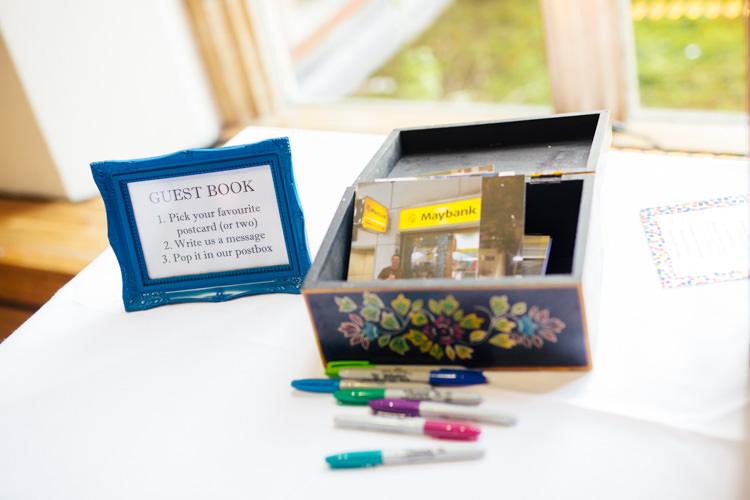 Post Card Guest Book Multicoloured Fun Creative Wedding http://www.catlaneweddings.com/