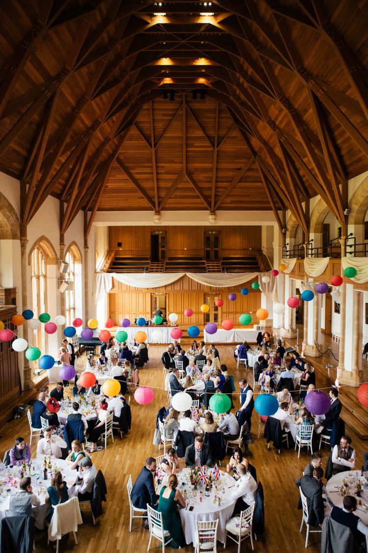 Bedford School Great Hall Reception Multicoloured Fun Creative Wedding http://www.catlaneweddings.com/