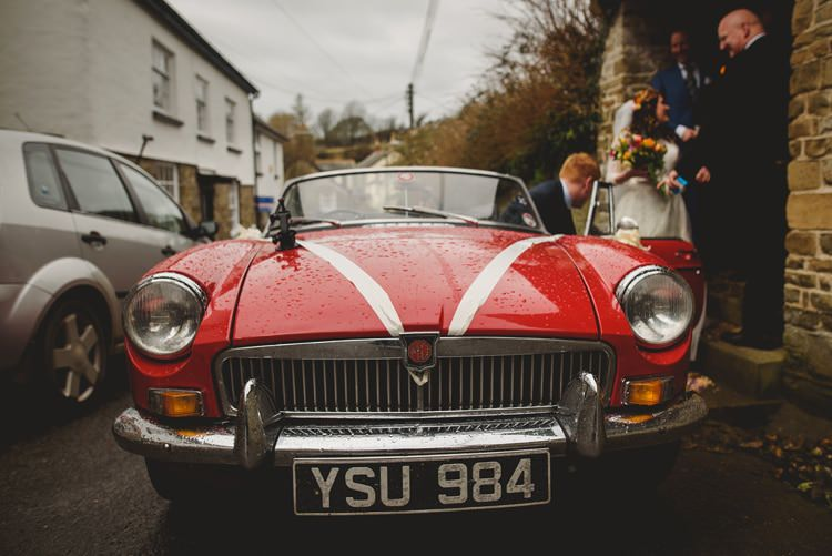Red Convertable Classic Car Indie Rustic Beach Marquee Wedding http://www.abiriley.co.uk/