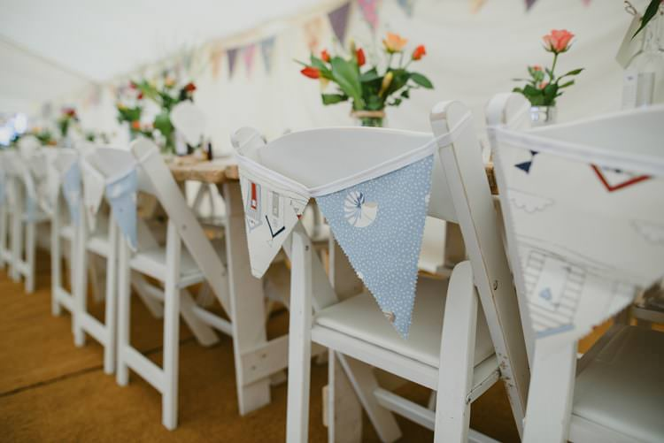 Chair Bunting Indie Rustic Beach Marquee Wedding http://www.abiriley.co.uk/