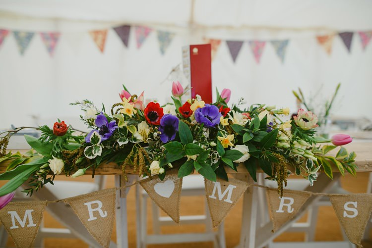 Top Table Bunting Mr Mrs Flowers Indie Rustic Beach Marquee Wedding http://www.abiriley.co.uk/