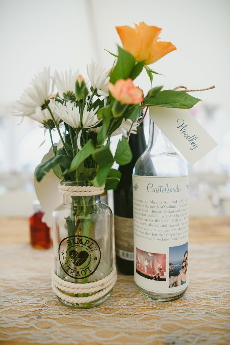 Jar Flowers Rope Centrepiece Indie Rustic Beach Marquee Wedding http://www.abiriley.co.uk/
