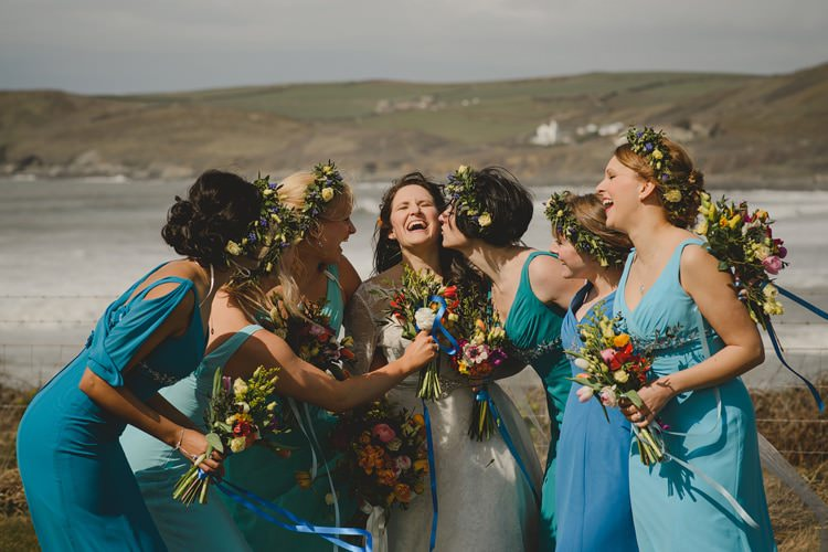 Blue Bridesmaid Dresses Flower Crowns Indie Rustic Beach Marquee Wedding http://www.abiriley.co.uk/