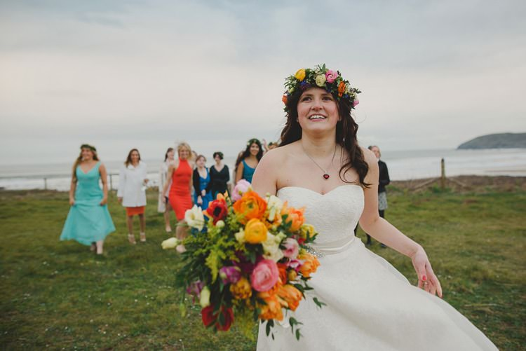 Flower Crown Bride Headdress Colourful Bouquet Spring Indie Rustic Beach Marquee Wedding http://www.abiriley.co.uk/