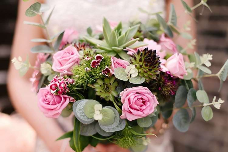 Succulent Rose Sweet William Bouquet Flowers Bride Bridal Tropical 1920s Pink Budget Wedding http://lilysawyer.com/