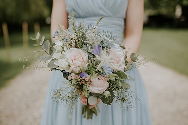 Pink Rose Foliage Bouquet Flowers Bridesmaids Pretty Pale Blue Gold Fairy Lit Barn Wedding http://lolarosephotography.com/