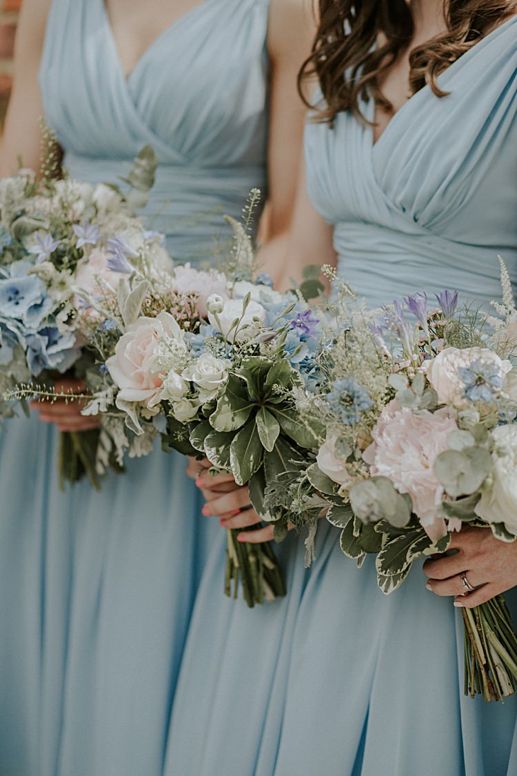 Bouquets Flowers Bridesmaids Pink Pastel Spring Peony Rose Pretty Pale Blue Gold Fairy Lit Barn Wedding http://lolarosephotography.com/