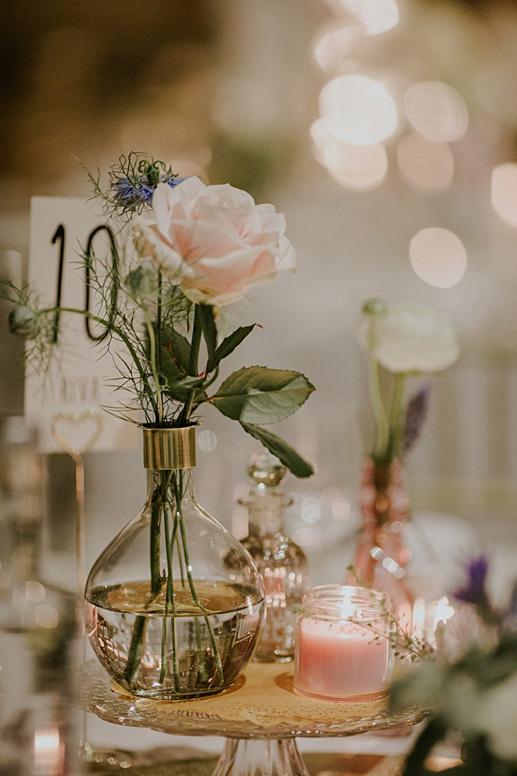 Vase Votives Centrepiece Decor Flowers Pink Candles Pretty Pale Blue Gold Fairy Lit Barn Wedding http://lolarosephotography.com/