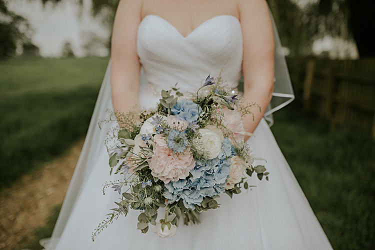 Bouquet Pastel Pink Peony Hydrangea Flowers Bride Bridal Rose Spring Pretty Pale Blue Gold Fairy Lit Barn Wedding http://lolarosephotography.com/