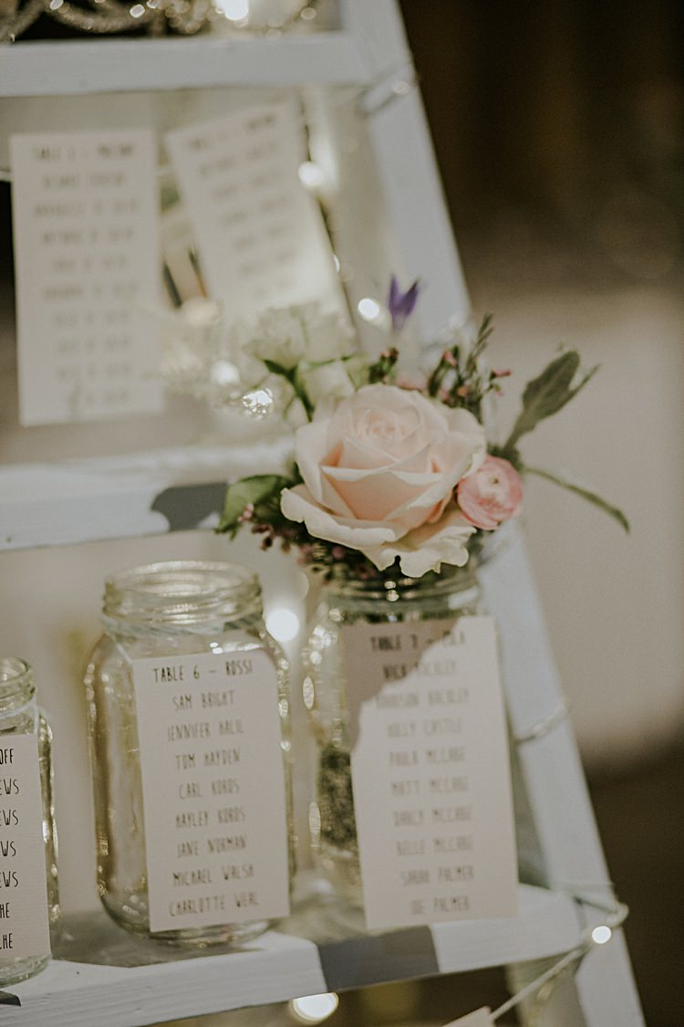 Ladder Jar Flowers Seating Plan Table Chart Fairy Lights Pretty Pale Blue Gold Fairy Lit Barn Wedding http://lolarosephotography.com/