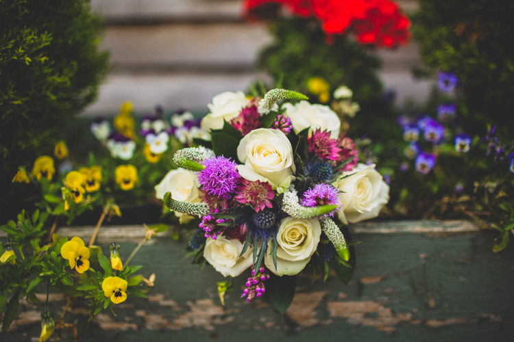 Purple White Bouquet Roses Thistle Bride Bridal Flowers Rustic Tipi Farm Wedding http://aniaames.co.uk/