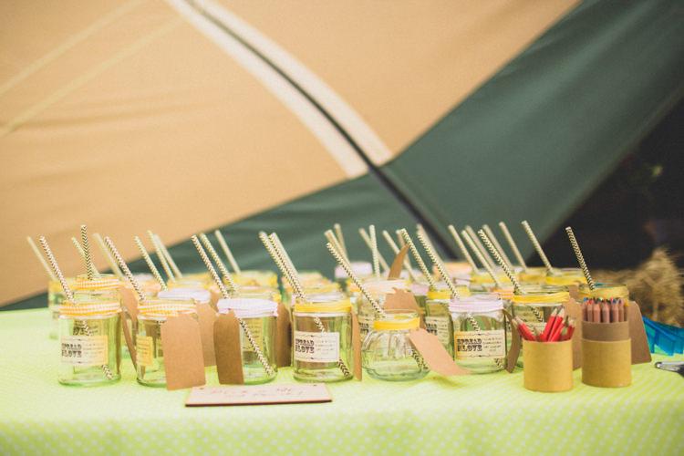 Jam Jar Drinks Straws Rustic Tipi Farm Wedding http://aniaames.co.uk/