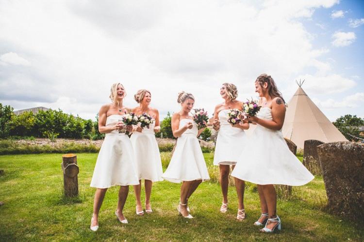 Short White Bridesmaid Dresses Rustic Tipi Farm Wedding http://aniaames.co.uk/