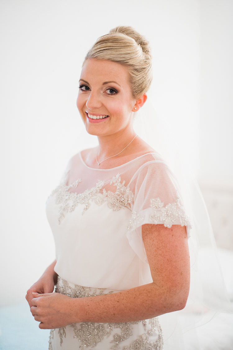 Bride Beaded Sleeved Enzoani Bridal Gown Soft Makeup Undo Hairstyle St Tropez Destination Wedding http://www.gemmamcauleyphotography.com/