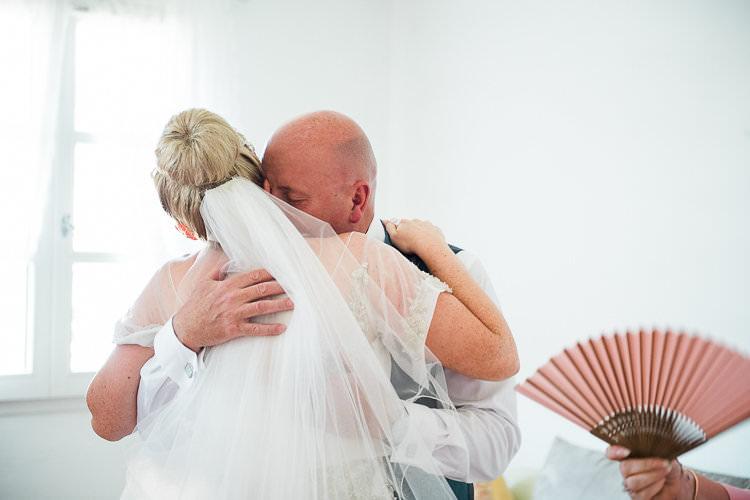 Bride Beaded Sleeved Enzoani Bridal Gown Bun Hairstyle Veil Dad Hug St Tropez Destination Wedding http://www.gemmamcauleyphotography.com/