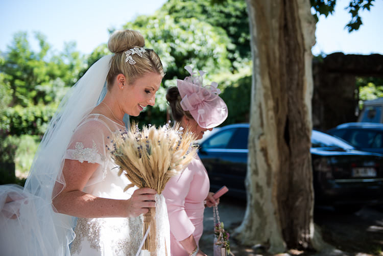 Bride Beaded Sleeved Enzoani Bridal Gown Veil Hairpiece Bouquet Straw Lavender Trees St Tropez Destination Wedding http://www.gemmamcauleyphotography.com/