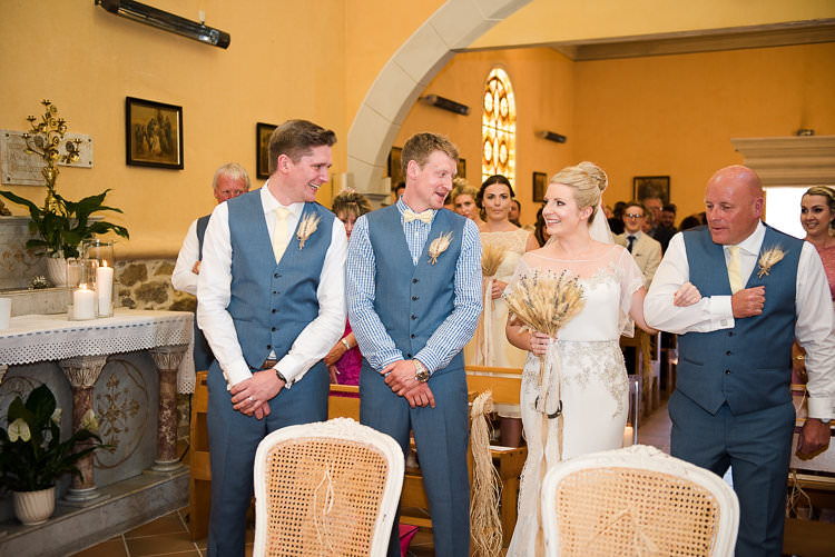 Church Ceremony Groom Blue Checked Shirt Vest Pants Cream Bowtie Bride Beaded Sleeved Enzoani Bridal Gown Bouquet Dad St Tropez Destination Wedding http://www.gemmamcauleyphotography.com/