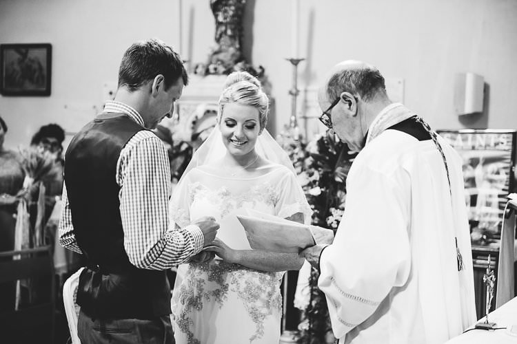Church Ceremony Groom Blue Next Checked Shirt Vest Pants Bride Beaded Sleeved Enzoani Bridal Gown Veil St Tropez Destination Wedding http://www.gemmamcauleyphotography.com/