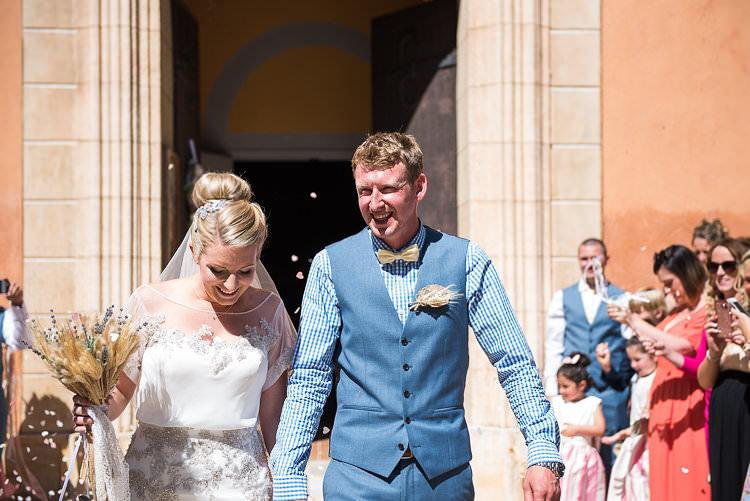 Groom Blue Next Checked Shirt Vest Pants Bride Beaded Sleeved Enzoani Bridal Gown Veil Bouquet Straw Lavender St Tropez Destination Wedding http://www.gemmamcauleyphotography.com/