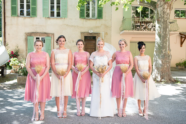 Bride Beaded Sleeved Enzoani Bridal Gown Veil Bridesmaids Pink Yellow Dresses Straw Bouquets Burlap Lace Ribbon St Tropez Destination Wedding http://www.gemmamcauleyphotography.com/