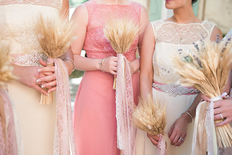 Bridesmaids Pink Yellow Dresses Embellished Sash Straw Bouquets Burlap Lace Ribbon St Tropez Destination Wedding http://www.gemmamcauleyphotography.com/