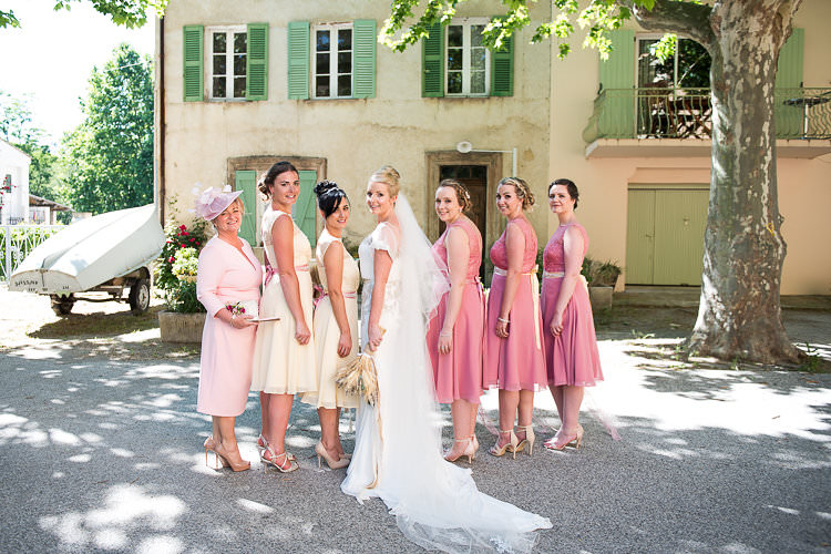 Bride Beaded Sleeved Enzoani Bridal Gown Veil Bridesmaids Pink Yellow Dresses Straw Bouquets Burlap Lace Mum Hat Ribbon St Tropez Destination Wedding http://www.gemmamcauleyphotography.com/