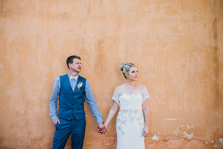 Groom Blue Next Checked Shirt Vest Pants Cream Bowtie Bride Beaded Sleeved Enzoani Bridal Gown Bun Hairpiece St Tropez Destination Wedding http://www.gemmamcauleyphotography.com/