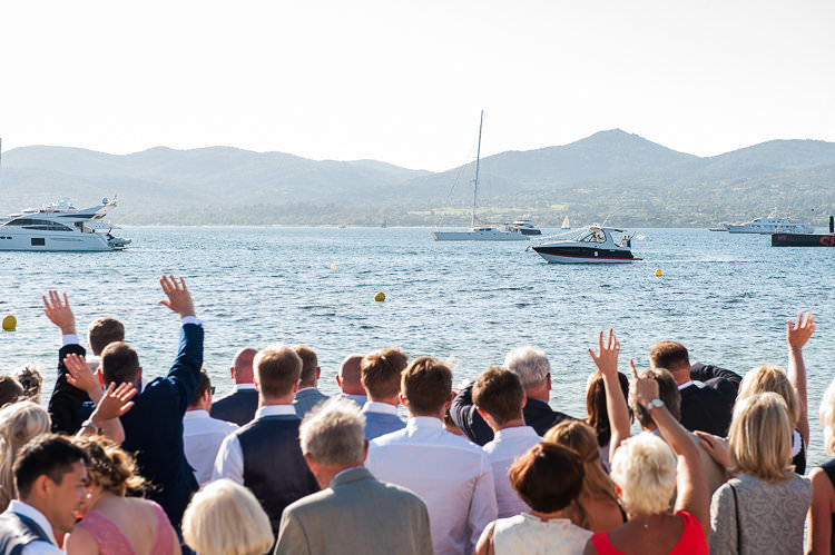 Boat Reception Arrival Bride Groom Guests Beach St Tropez Destination Wedding http://www.gemmamcauleyphotography.com/