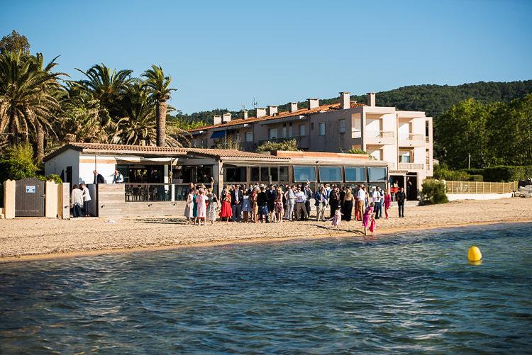 Reception Venue Beach Guests Sand Sun Palm Trees St Tropez Destination Wedding http://www.gemmamcauleyphotography.com/