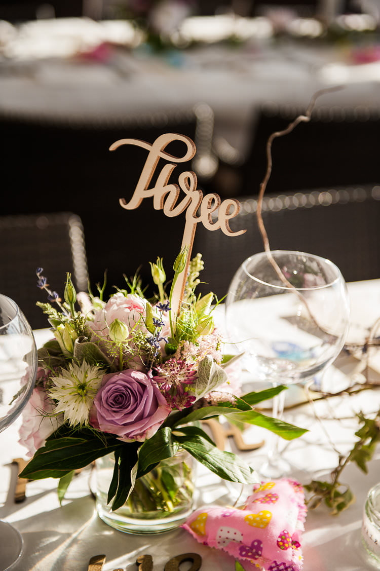 Reception Table Settings Wooden Sign Pink White Green Floral Centrepiece Heart Water View St Tropez Destination Wedding http://www.gemmamcauleyphotography.com/