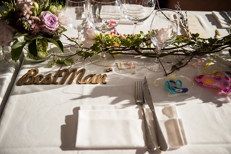 Reception Table Settings Wooden Sign Pink White Green Floral Centrepiece Pink Heart St Tropez Destination Wedding http://www.gemmamcauleyphotography.com/
