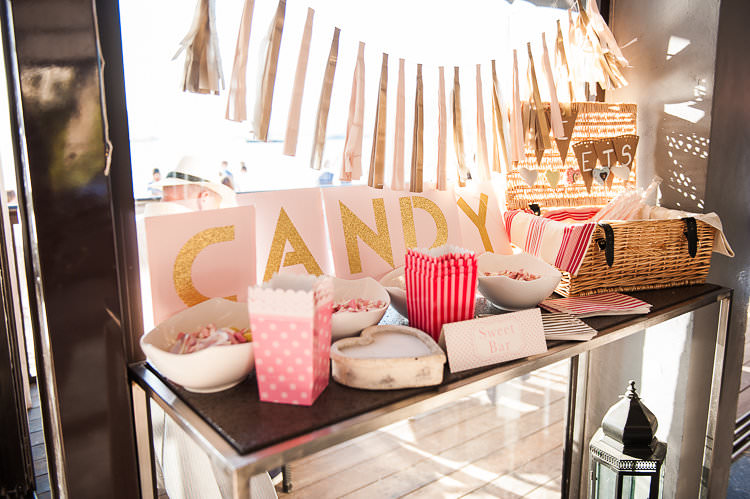 Reception Candy Bar Pink Gold Bunting Ribbon Sign Lollies St Tropez Destination Wedding http://www.gemmamcauleyphotography.com/