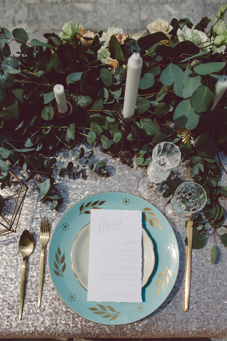 Table Setting Champagne Sequin Tablecloth Gold Cutlery Light Blue Plate Stationery Menu Cream Blush Roses Greenery Flowers Candlesticks Breathtaking Lake Como Wedding Ideas http://lillyred.it/