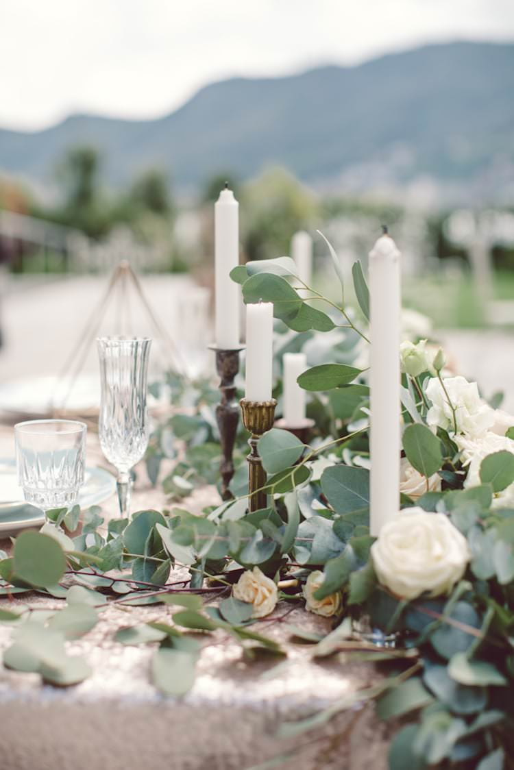 Table Setting Champagne Sequin Tablecloth Cream Blush Roses Greenery Flowers Gold Prism Candlesticks Mountain View Breathtaking Lake Como Wedding Ideas http://lillyred.it/
