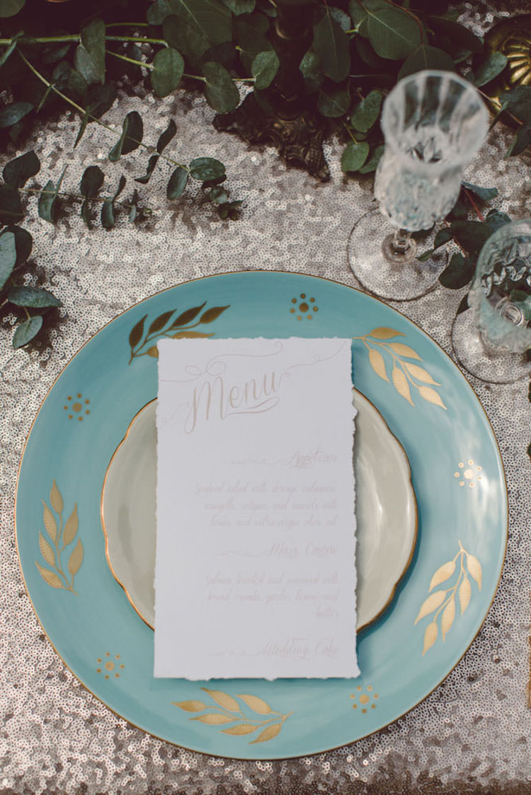 Table Setting Champagne Sequin Tablecloth Light Blue Gold Plate Menu Stationery Greenery Glasses Breathtaking Lake Como Wedding Ideas http://lillyred.it/