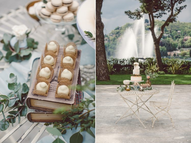 Dessert Table Gold Cream Blue Wedding Cake Sweet Treats Vintage Books Greenery Roses Water Fountain Trees Breathtaking Lake Como Wedding Ideas http://lillyred.it/