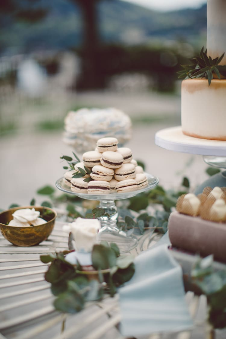 Dessert Table Sweet Treats Macarons Groom's Cake Roses Greenery Breathtaking Lake Como Wedding Ideas http://lillyred.it/